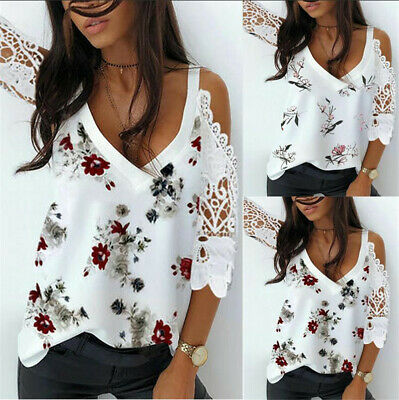 £9.99 • Buy Womens Hollow Lace T Shirt Tee Ladies Cold Shoulder Summer Tops Blouse Plus Size