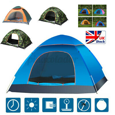 £15.99 • Buy 2-3 Man Auto Family Tents Outdoor Large Festival Camping Travel Beach Waterproof