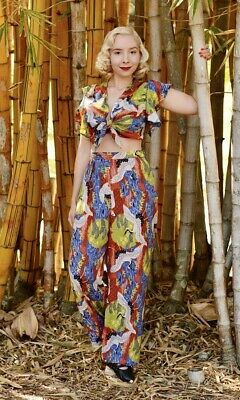 £78 • Buy Trashy Diva Tropical With Cranes Rayon Top & Pant Set  Size XS NWT