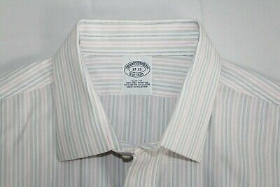 £7.07 • Buy BROOKS BROTHERS 17-33 Slim Fit Cotton Lastol French Cuff Pink Gray White Shirt