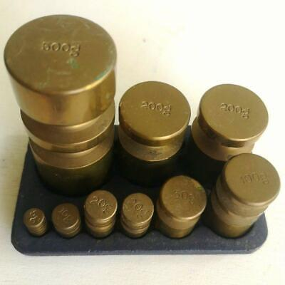 £25 • Buy 9 Metric Brass Weights In A Victor Cast Iron Display Stand/ Tray