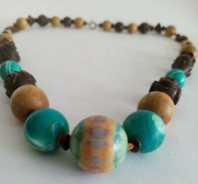 £5.99 • Buy Beaded Wood Brown/Turquoise Necklace-Statement Piece Costume Jewellery Ladies