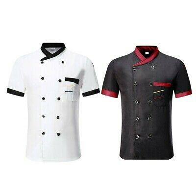 £11.43 • Buy Unisex Hotel Canteen Chef Clothes Stand Collar Button Short Sleeve T-shirt Tops
