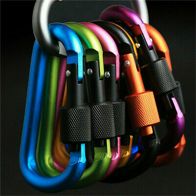£1.14 • Buy Compact 6X Carabiner Clip Key Ring Holder Chain Cable Hook Lock Camping D Shape