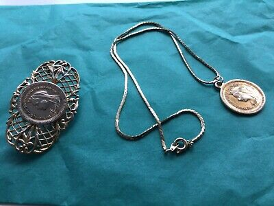 £8.50 • Buy Box Chain Necklace With Coin Pendant Matching Coin Brooch