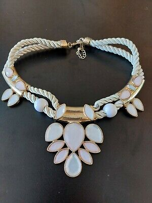 £1.10 • Buy Statement Necklace Costume Jewellery Fashion Gold White Pink Cord Accessory 86K