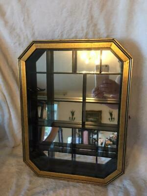 £19.99 • Buy Small Wood And Glass Display Cabinet For Curios Mirror Backed Unusual Gold Frame