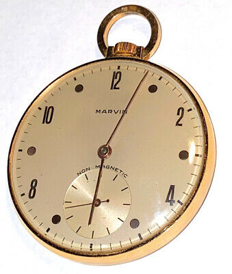 £494.88 • Buy Mens 18k Yellow Gold Marvin Pocket Watch 46 Mm Mechanical