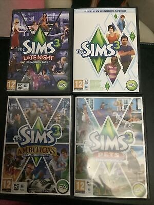 £17.99 • Buy The Sims 3 PC Mac 2010 With Expansions Packs Late Night Ambitions And Pets Vgc