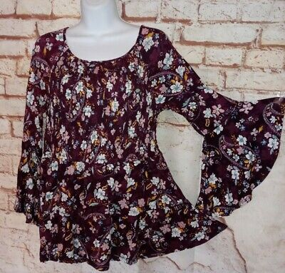 £14.15 • Buy Time And Tru Top L Burgundy Stretch Knit Boho Hippie Peasant Shirt Blouse 12-14