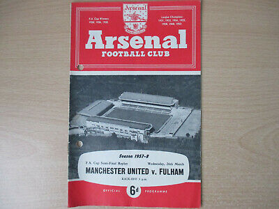 £3 • Buy At Arsenal - Manchester United V Fulham 1958 FA Cup Semi Final Replay Munich