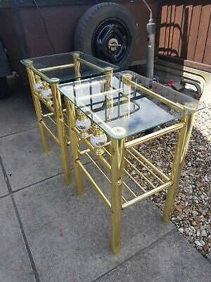 £10 • Buy Bedside Tables X 2 (pair). Glass Topped. Nice