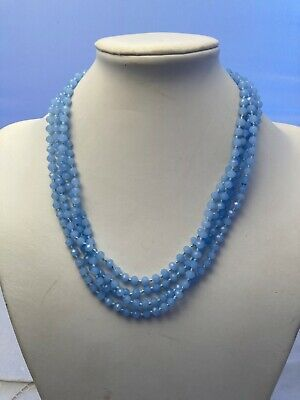 """$32 • Buy 7mm Knotted Blue Crystal Necklace 76"""" Super Long Flapper Length"""