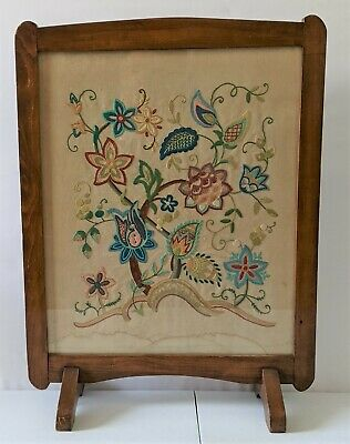 £54.99 • Buy Vintage Fire Screen Guard Wood Wooden Floral Embroidered Tapestry Fireguard