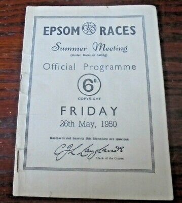 £9.95 • Buy Epsom Race Card May 26th, 1950 - The Coronation Cup & Amcur Drake