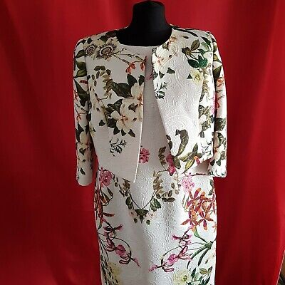 £7.90 • Buy GIORGIA JO White With Floral Pattern Dress And Jacket Size 16/44
