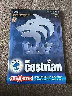 £4 • Buy Limited Edition Programme - Chester Fc V Trafford Fc 2010
