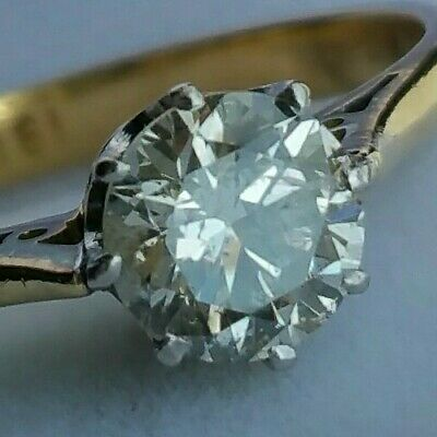 £489.99 • Buy 18Ct Gold 0.55Ct Sparkly Diamond Solitaire Ladies Engagement Dress Ring