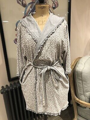 £8 • Buy ⭐️ Grey Per Una M&s Leopard Hooded Frill Edge Hooded Dressing Gown 16 - 18 ⭐️