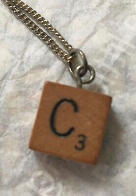£17.99 • Buy Adorable Wooden Scrabble Letter C Necklace And Chain