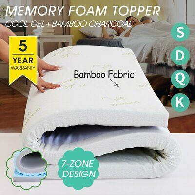 AU38 • Buy Memory Foam Mattress Topper Queen 5/8CM Bed Underlay Bamboo Cover Double King