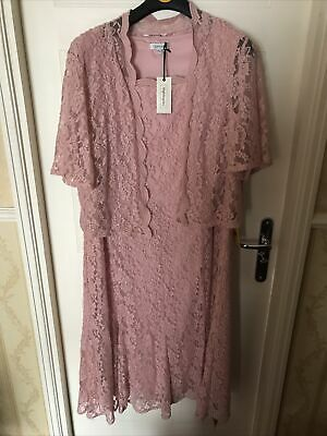 £39.99 • Buy Nightingales Lace Overlay Dress And Jacket Size 24 Pink BNWT Mother Of The Bride