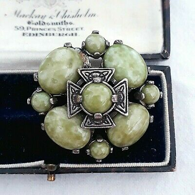 £2.42 • Buy Vintage Signed Miracle Scottish Chunky Glass Connemara Celtic Cross Pin Brooch