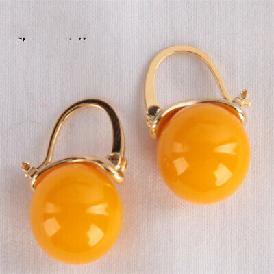 $4.90 • Buy 12MM Yellow Agate Earring 18KGP Dangle Holiday Gifts Party AAA Irregular