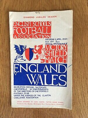 £1.80 • Buy England V Wales Schoolboys Victory Shield Match 4/4/1964 At Chesterfield
