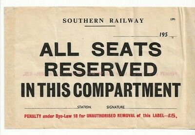 £1.49 • Buy Southern Railway ALL SEAT RESERVED IN THIS COMPARTMENT Window Label