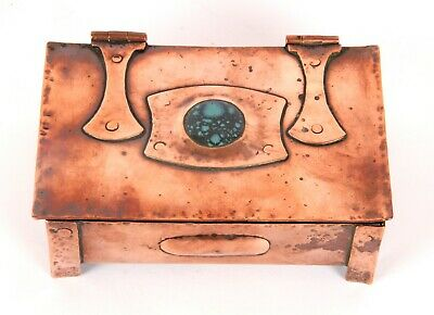 £67.65 • Buy Arts And Crafts Copper Box Ruskin Pottery Roundel A E Jones Style