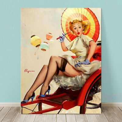 £30.07 • Buy VINTAGE Pin-up Girl CANVAS PRINT Gil Elvgren  36x24  Carriage China