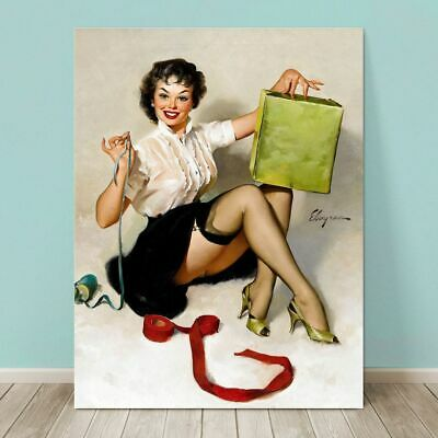 £30.07 • Buy VINTAGE Pin-up Girl CANVAS PRINT Gil Elvgren  36x24  Neat Package