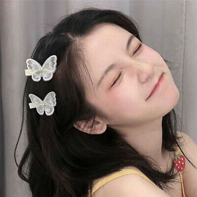 $ CDN3.11 • Buy Sweet Butterfly Hair Clips Embroidery Ornament Butterfly Girls Hair Accessories