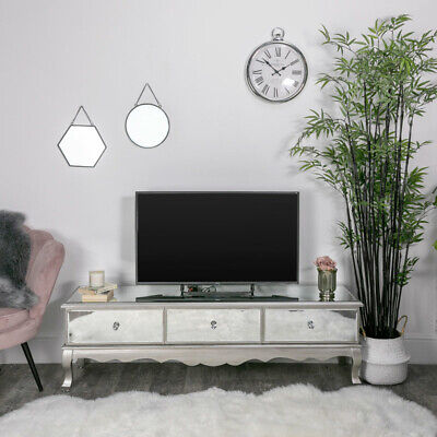 £56 • Buy Large Mirrored Glass Ottoman TV Unit Stand Storage Living Room Furniture Storage