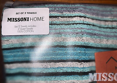 £32 • Buy MISSONI HOME TABATA Hand Towel Set BNWT 100% COTTON GUEST HAND TOWELS RRP£47