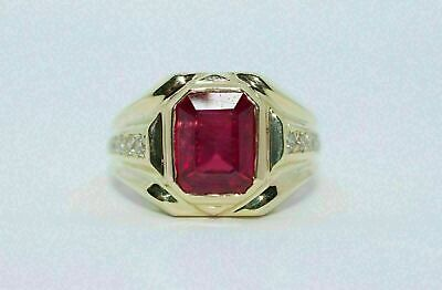 $111.99 • Buy 3Ct Emerald Cut Red Garnet Solitaire Men's Engagement Ring 18K Yellow Gold Over