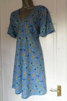 £3.25 • Buy Gorgeous...size 14...ditsy Blue & Floral-polka Dot 1940's Style Tea Dress...look