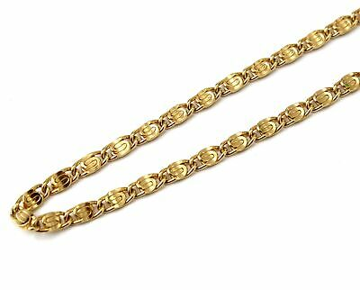 $6.89 • Buy YELLOW GOLD PLATED 4MM Wide Scroll Links 14  Chain Costume Necklace - H09