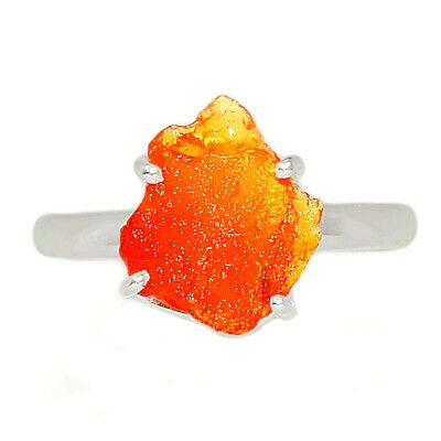 £7.18 • Buy Mexican Fire Opal Rough 925 Sterling Silver Ring Jewelry S.8 BR61941