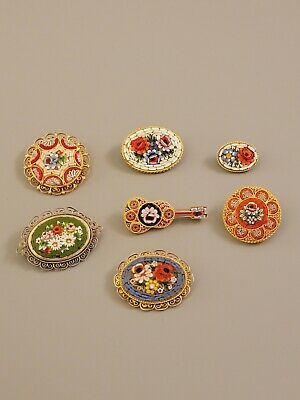 $ CDN21.79 • Buy Vintage Mosaic Lot 7pc Brooches Gold Silver Tone