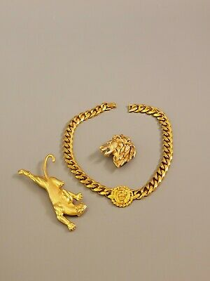 $ CDN16.81 • Buy HIGH QUALITY Vintage Lot Lions Panther Necklace Brooches Gold Tone