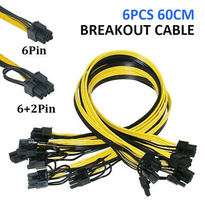 £17.55 • Buy UK 6pcs 60cm Quality Breakout Cable 6 To 8 Pin (6+2P) PCI-E Cable 16AWG Mining-