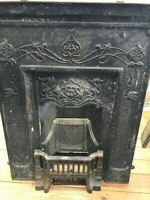£1 • Buy Victorian Style Black Cast Iron Insert Fireplace Surround And Grate