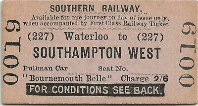 £4.99 • Buy Southern Railway Reserved Seat Ticket For Bournemouth Belle Waterloo Southampton