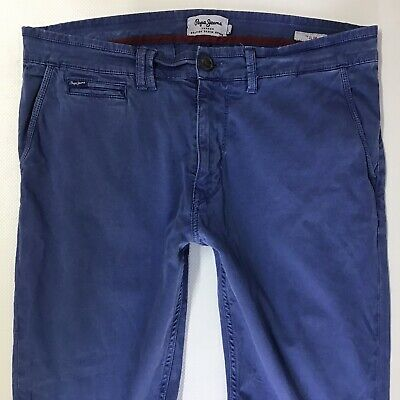 $37.13 • Buy MENS PEPE JEANS SLIM LEG BLUE CHINOS CASUAL TROUSERS W34 L32 (811h)