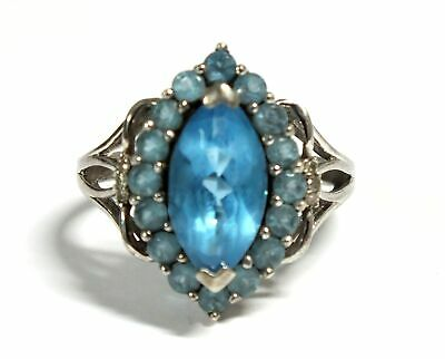 £16 • Buy 925 STERLING SILVER Marquise & Round Blue SPINEL Halo Ring, Q, 4.43g - C05