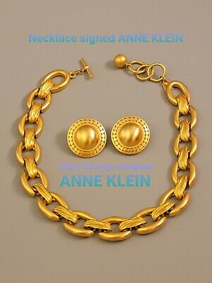 $ CDN32.37 • Buy Signed ANNE KLEIN Vintage Lot Necklace Clips Earrings Gold Tone