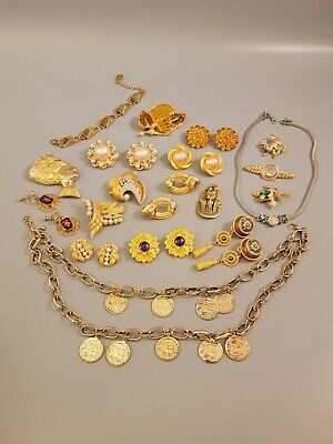 $ CDN21.79 • Buy HIGH QUALITY Vintage Jewelry Lot Necklaces Brooches Bracelet Earrings Gold Tone