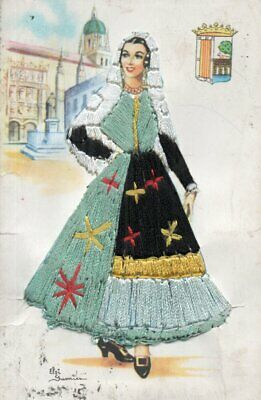 £3.20 • Buy VINTAGE SPANISH Postcard:  LADY FROM SALAMANCA WITH EMBROIDERED DRESS
